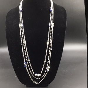 Vera Wang Silver Tone Triple Strand Bead Necklace